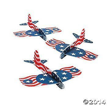 Patriotic Gliders (12 Gliders per Order) Foam/Fourth of July/Independence Day