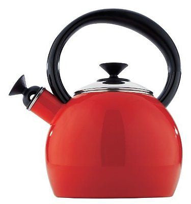 Copco 1-1/2-Quart Enamel on Steel Camden Tea Kettle, Red