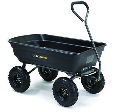 Gorilla Carts Poly Garden Dump Cart with Steel Frame and 10-in