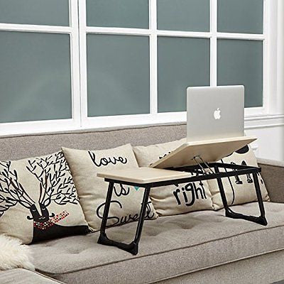 Laptop Bed Tray with Foldable Leg Tiliting Top Sturdy Table Stand Tray
