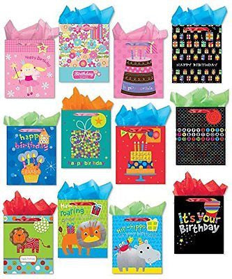 Birthday Party Gift Bags Set of 12 Large Gift Bags w/ Glitter, Tags, Stars
