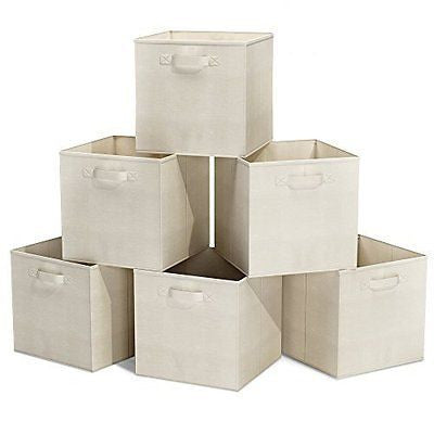 Closet Organizer - Fabric Storage Basket Cubes Bins - 6 Beige Cubeicals