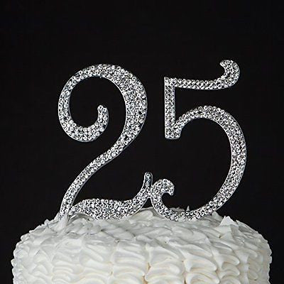 25 Cake Topper for 25th Birthday or Anniversary - Party Supplies & Decoration