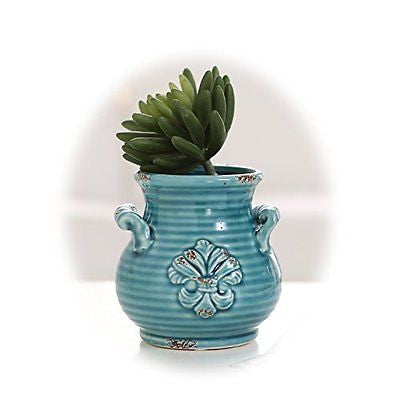 Small Blue Rustic French Fleur-de-Lis Design Ceramic Plant Flower Planter Pot