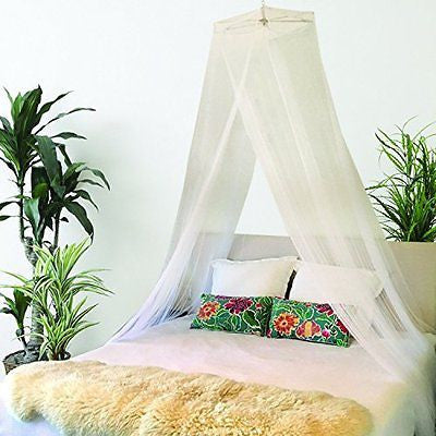 Mosquito Net Bed Canopy - Queen Size + Bonus Hanging Paper Pom Pom Decorations