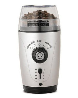Hamilton Beach 80365 Custom Grind Hands-Free Coffee Grinder Platinum