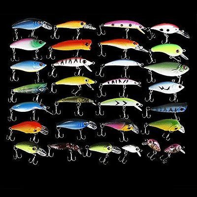 30pcs Metal Artificial Fishing Bait Crankbait Assorted Fish Hooks Tackle