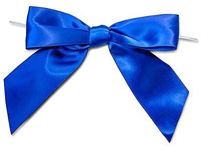 "Royal Blue 5"" Pre-tied Satin Bows W/6"" Twist Ties~ 1-1/2"" Ribbon Set of 10"