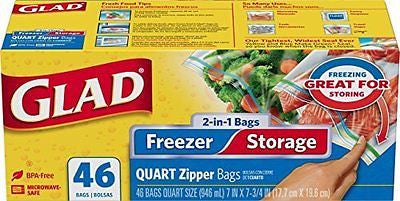 Glad Food Storage Bags 2-in-1 Zipper Quart 46 Count