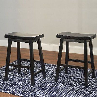TMS 24-Inch Belfast Saddle Stool Black Set of 2