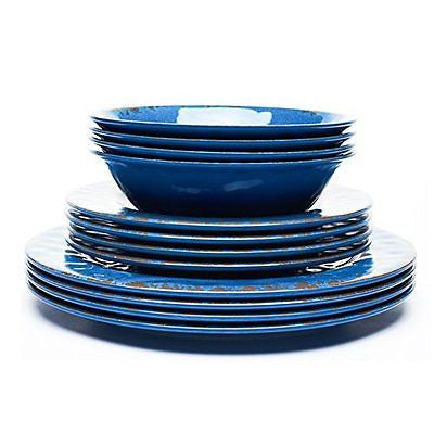 Crack Plate and Bowl Dinnerware Set Blue 12 Pieces