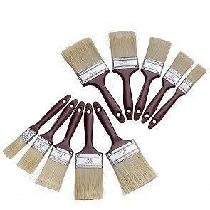 10 Pack -Polyester Bristle Paint Brush Value Set W/ Contoured Handles