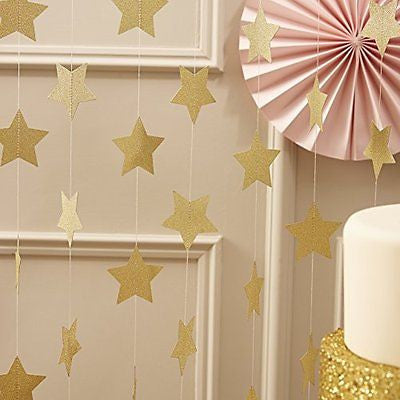 Ginger Ray Pastel Perfection Sparkling Star Garland Bunting for Weddings