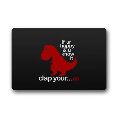 Funny Sad Red Dinosaur With Funny Quotes Non-slip Doormat