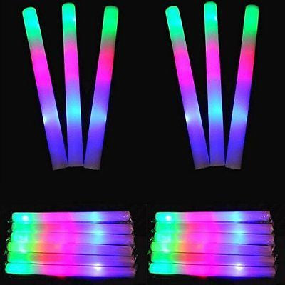 "19"" Gleaming Bright Entertainment Led Multi Colored Party Blinking Foam Sticks"