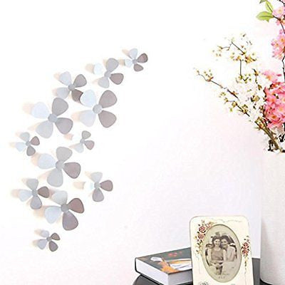 Ussore 12Pcs 3D Acrylic Clover Wall Stickers for Home Decoration Home Decor