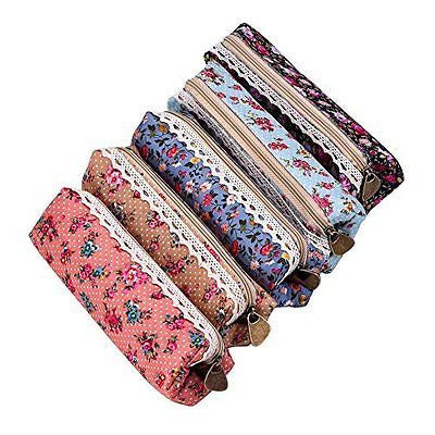 eBoot 7 Inch Flower Pattern Zipper Canvas Pen Pencil Case Stationery Pouch Bag