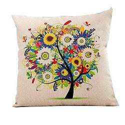 18''X 18'' Pastoral Style Tree of Life Cotton Linen Decorative Throw Pillow