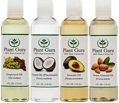 100% Pure Carrier Oil VARIETY-4 PACK- 4 Ounce Bottles--Fractionated Coconut Oil