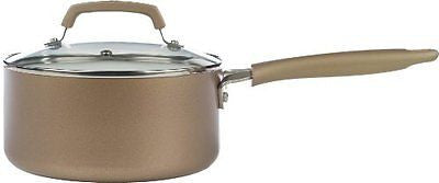 Nonstick Scratch Resistant PTFE PFOA and Cadmium Free Cookware 3Quart Gold