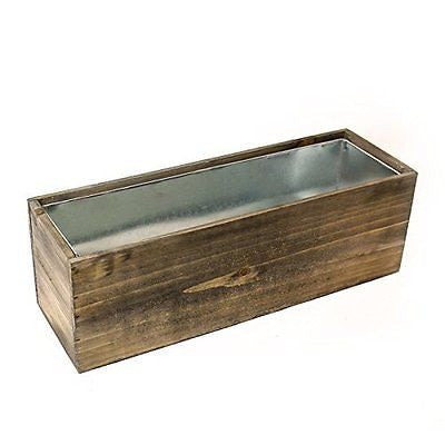 CYS? Wood Rectangle Window Box Wood Planters with Removable Zinc Liner