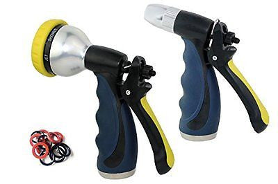 A3009 Valued METAL CORED Garden Hose Water Nozzle Hand Sprayer Nozzle Twin Set
