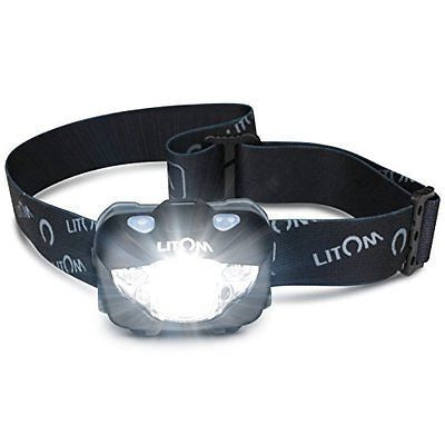 LITOM Headlamp Flashlight with White/Red LED Gesture Control IPX6 Waterproof