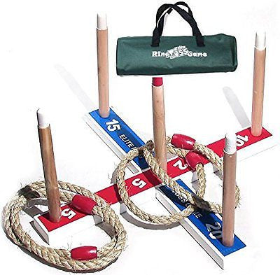 Elite Ring Toss Game - Children's or Family Outdoor Quoits Game - Compact Carry