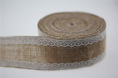 2'' x 11 Yards / 5cm x 10m Burlap Ribbon Bows Tape Bow Burlap Door Wreath Tree