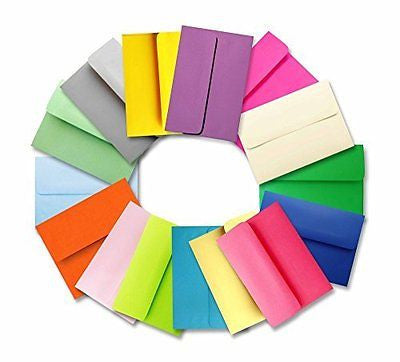 "Shipped Free - 25 A2 Envelopes (4-3/8"" X 5-3/4"") Assorted Multi Colors"