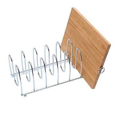 Cutting Board Holder Kitchen Pot Lid Rack 6 Compartments Organizer Chrome Steel