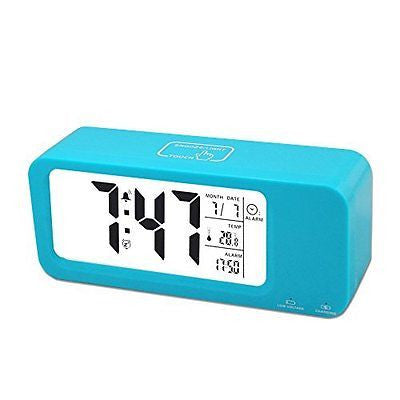 Digital Alarm Clock Rechargeable, Samshow Smart Alarm Clock with 2 Alarms
