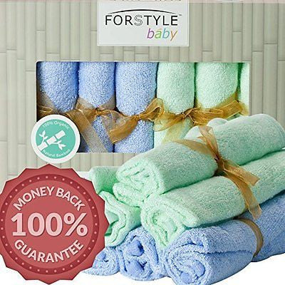 EXTRA LARGE Baby Washcloths 100% Organic Bamboo Towels 12