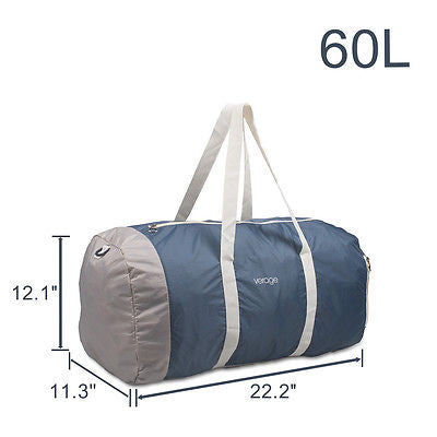 New Foldable Travel Luggage Duffle Bag Gym Carry Suitcase 60L Blue