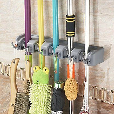 Bekith Mop Broom Holder 5 Position 6 Hooks Garage Storage Holds up to 11 Tools