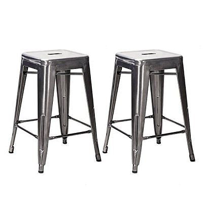 TOP SELLER! Adeco 24-inch Gunmetal Glossy Metal Tolix-style Chair Counter Bar