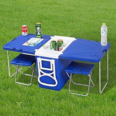 Waybackhome Multi Function Rolling Cooler Camping Picnic Table And 2 Chairs