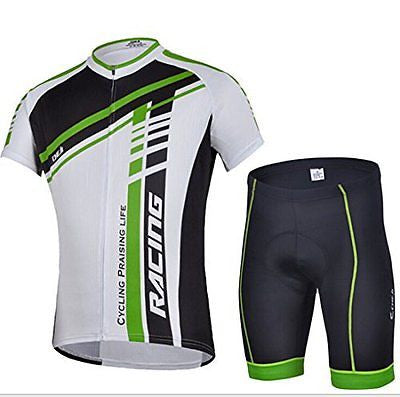 CHEJI Men's Cycling Jersey Sleeve Shorts Set Sportwear Bike Clothing,Green