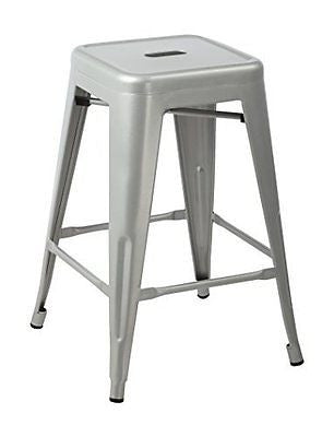 Silver 24-inch Metal Counter Bar Stools (Set of 2)