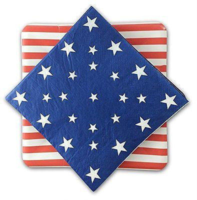 Fourth of July Red White Blue American Flags Inspired Party Plates and Napkins