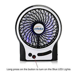 Efluky Mini USB 3 Speeds Rechargeable Portable Table Fan 4.5-Inch Black