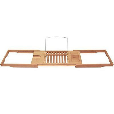 Bamboo Bathtub Caddy with Extending Sides and Adjustable Book Holder