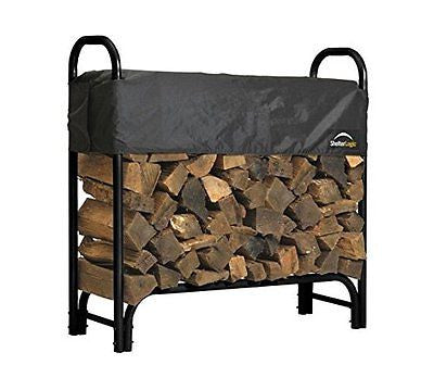 ShelterLogic Backyard Storage Series Covered Firewood Rack Black 4-Feet