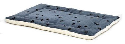 MidWest Paw Print Reversible Fleece Stuffed Bed, Blue