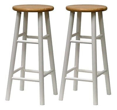 Winsome Wood S/2 Beveled Seat 30-Inch Bar Stools Nat/Wht
