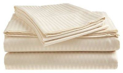Home Collection 4 Piece Classic Sateen Stripe Sheet Set, King (Beige)