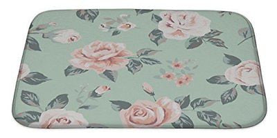 Gear New Classic Wallpaper Vintage Flower On Green Bath Mat Rug