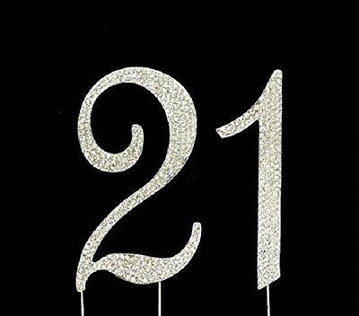 21 Silver Rhinestone Crystal Cake Topper Silver, Gold Numbers, Letters