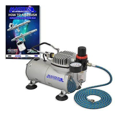 NEW Quiet 1/5 hp MASTER AIRBRUSH TANK COMPRESSOR-(FREE) AIR HOSE