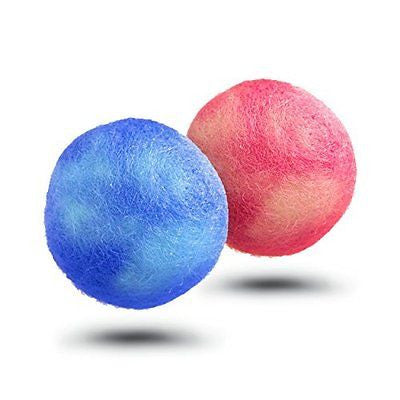 Dog Chew Toy Balls - Felted Wool, 2 Pack, Multi-Color, Safe, Natural & Fun